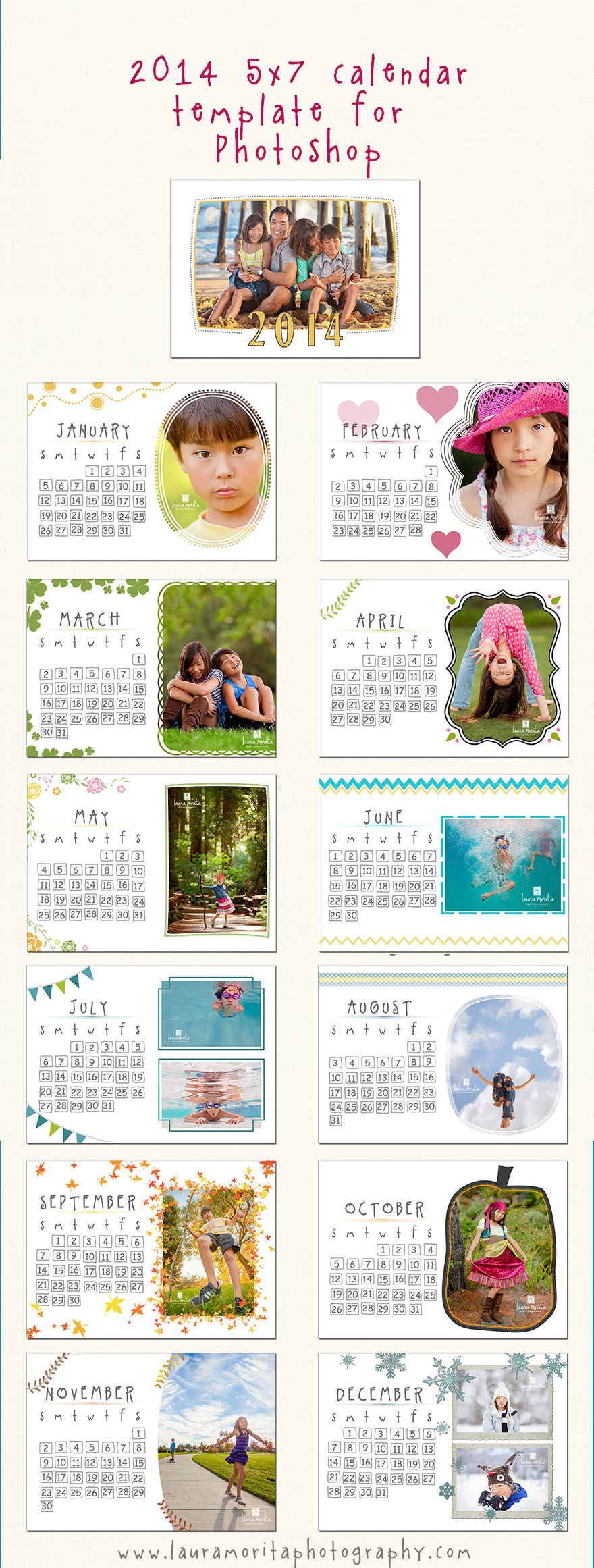 Calendar templates for Photographers -- Laura Morita Photography